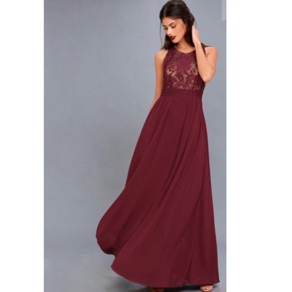 Lulu's Dresses & Skirts - Lulu's Forever and Always Lace Maxi dress Gown